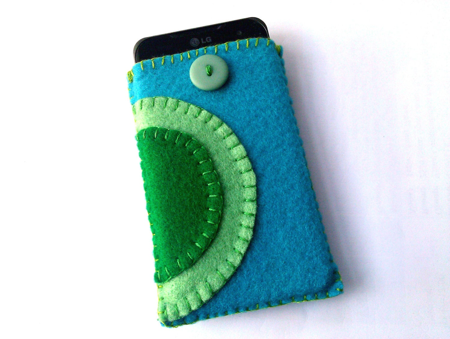 Phone Case, Felt Phone Cosy, Blue and Green with Button - KirstieKrafts