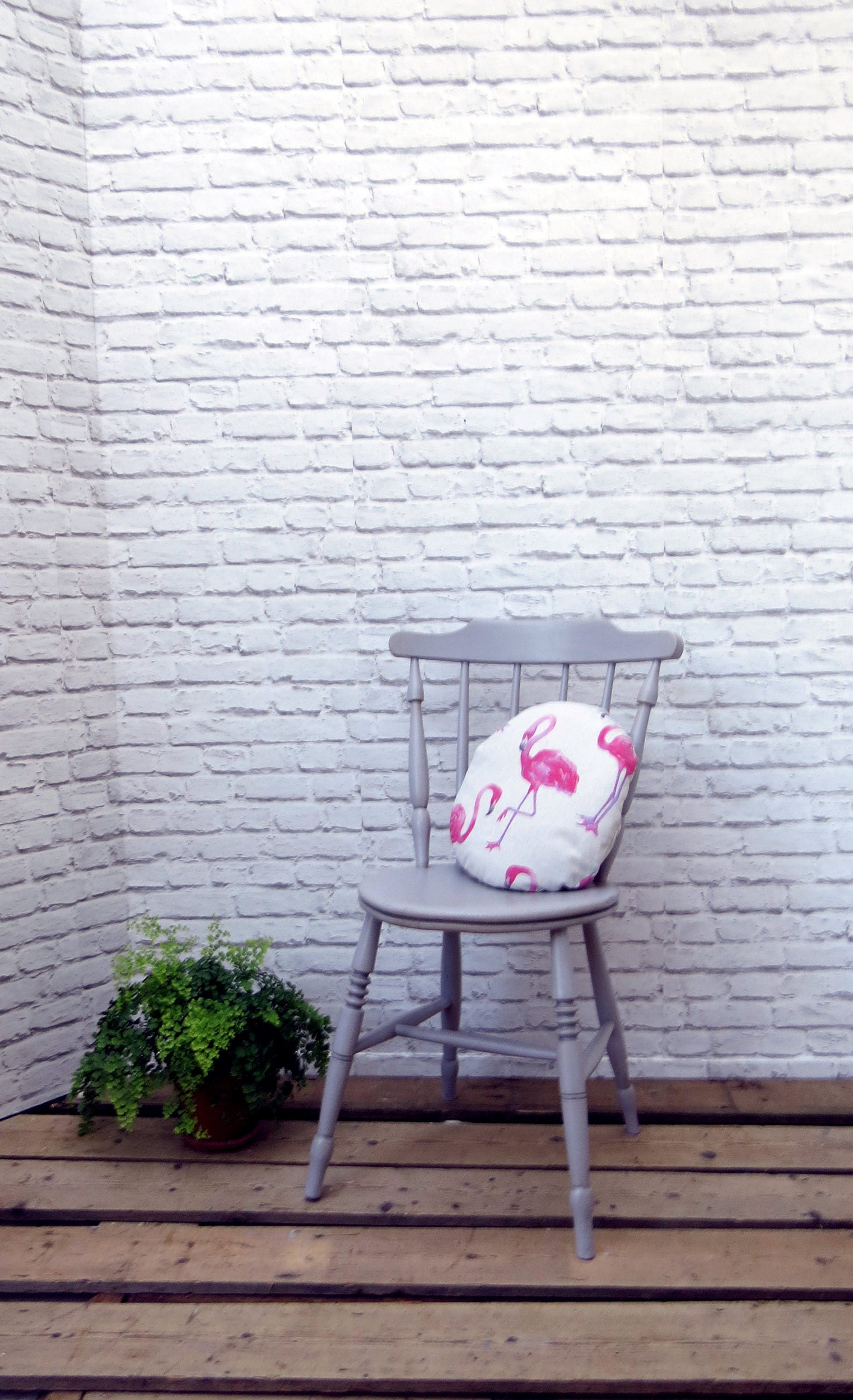 Vintage Bedroom Occasional Chair Grey with Flamingo Cushion