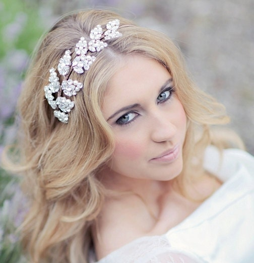 Bridal headdress  wedding headband  bridal headpiece  bridal hair accessory  GODDESS