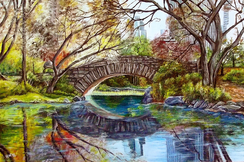 New York Painting Bridge Gapstow Bridge Central...