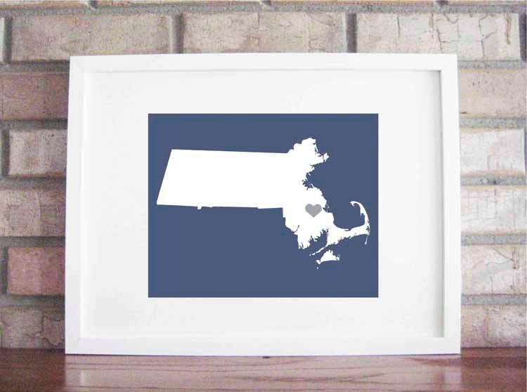 Customize Your Home Is Where The Heart Is - Massachusettes 8x10