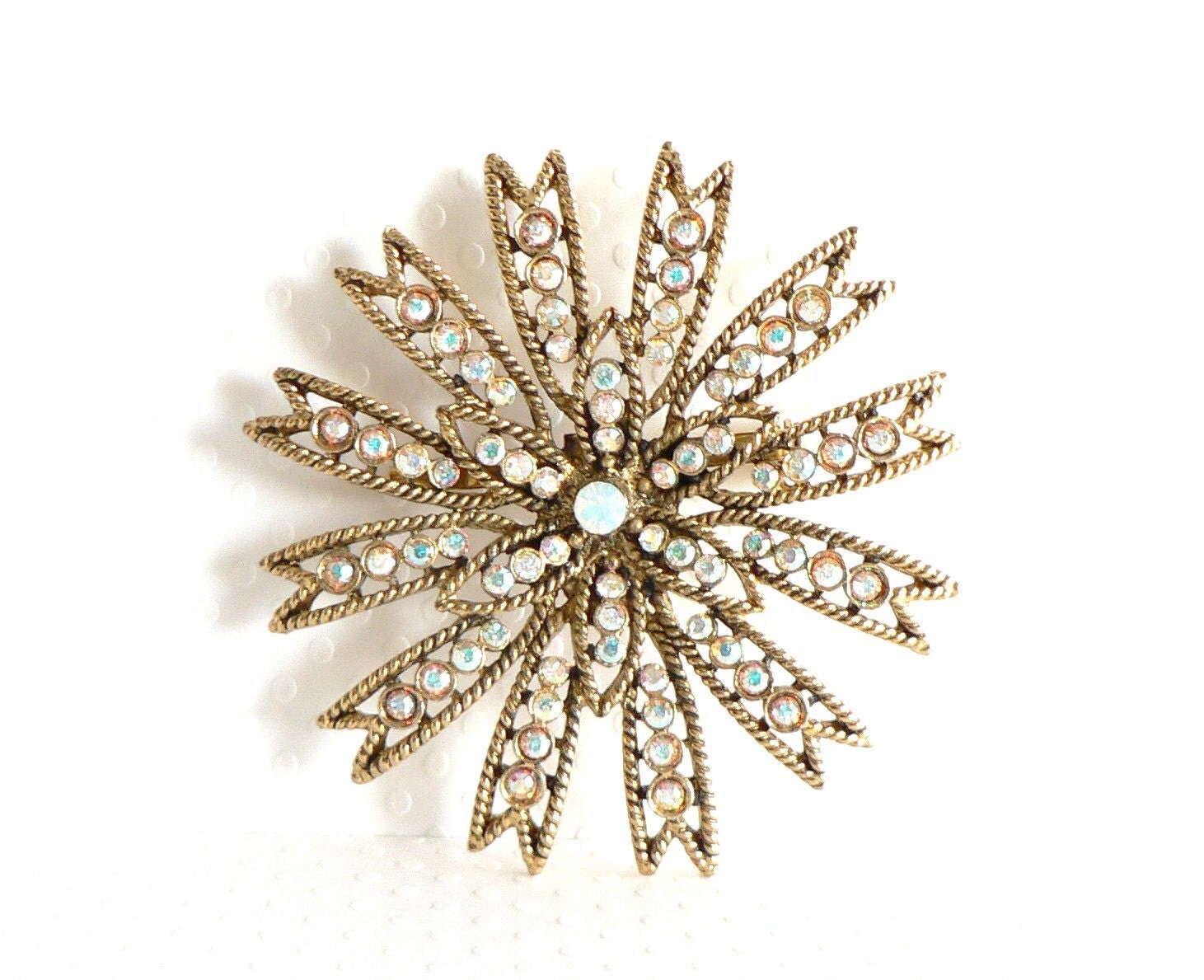 Vintage Weiss Brooch Aurora Borealis Snowflake AB Brooch - auntemilie