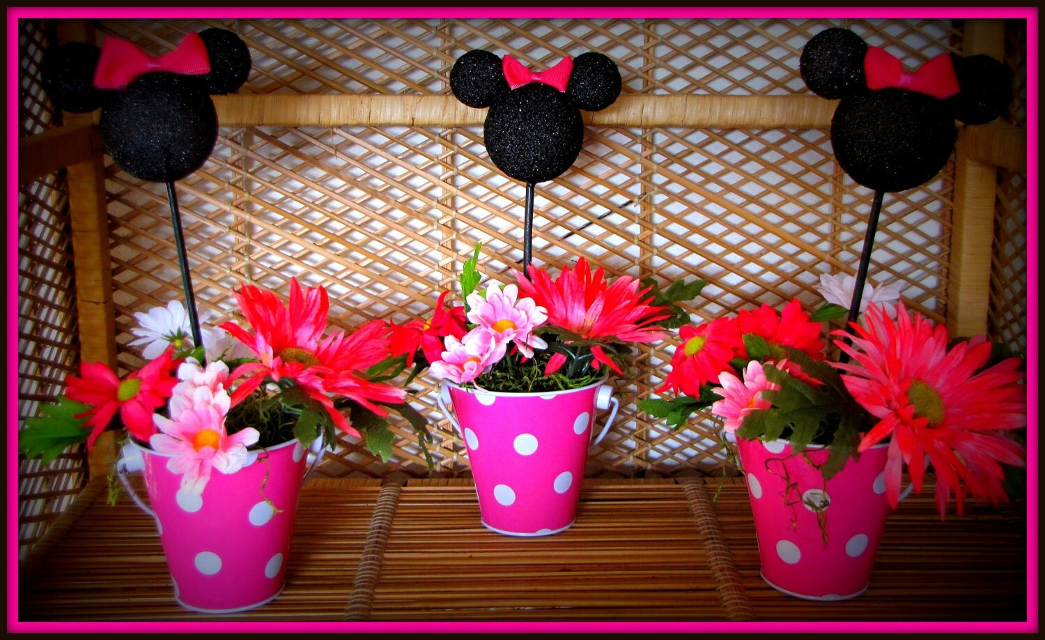 Pin minnie mouse centerpiece picks hot pink set of by