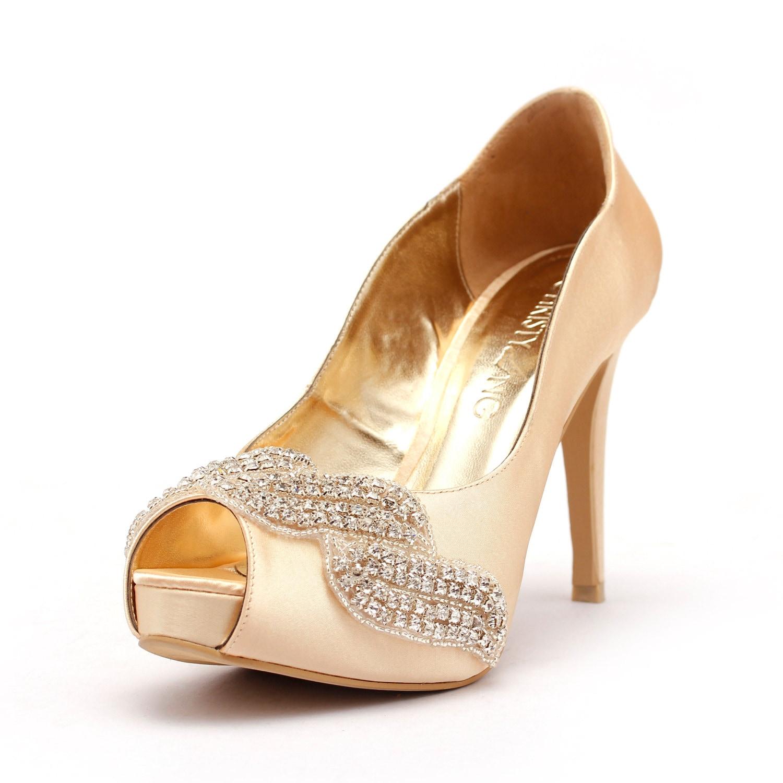 Champagne Peep Toe Wedding Heel with Swarovski Elements and Beads, Gold Bridal Heel, Champagne Gold Satin Wedding Heel, Gold Wedding Shoes.