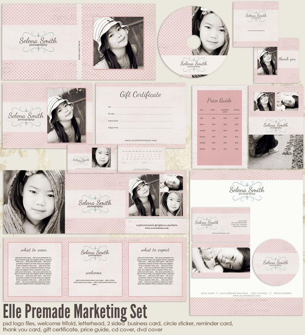 Elle premade photography marketing set by 7thavenuedesigns on etsy for Photography marketing templates