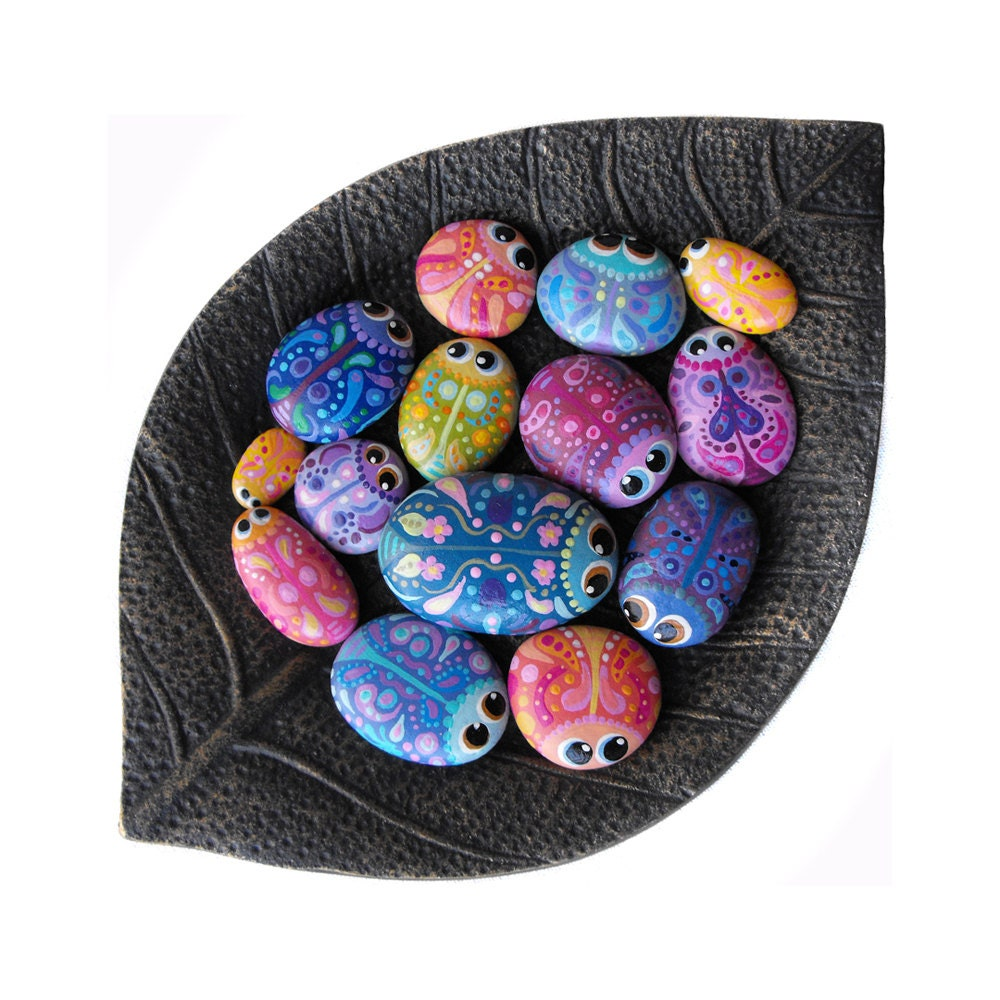 Hand Painted Rocks A Bowl Full Of Bug By Coolisart