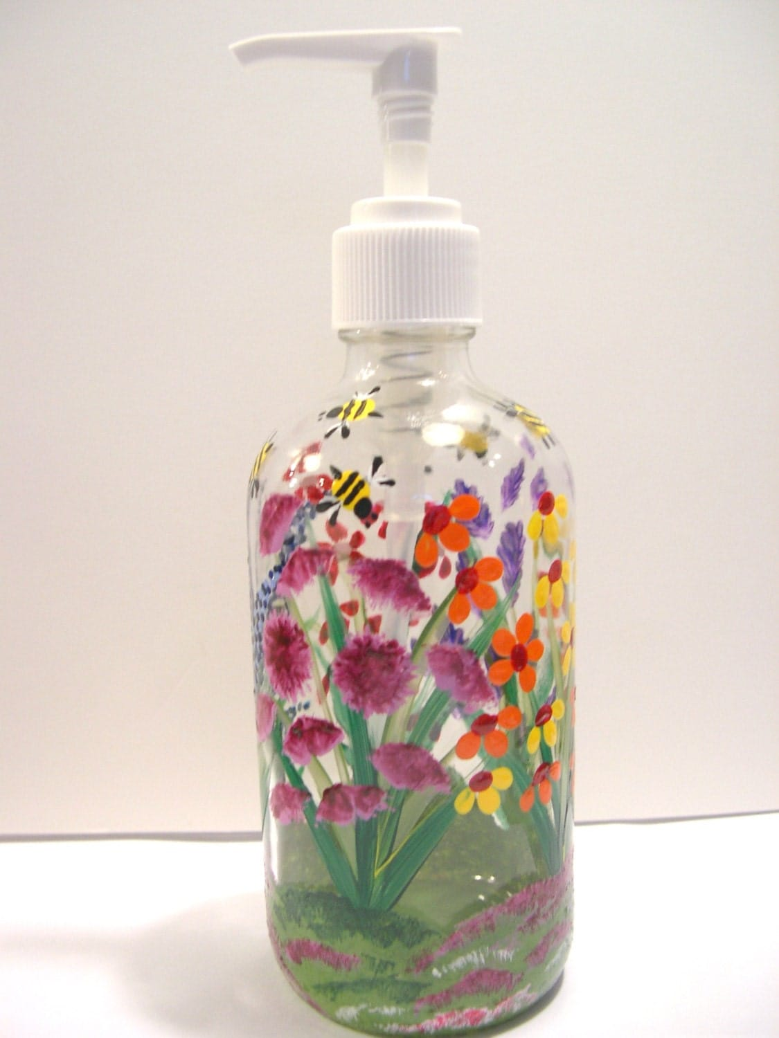 Hand Painted Glass Liquid Soap Lotion Dispenser By