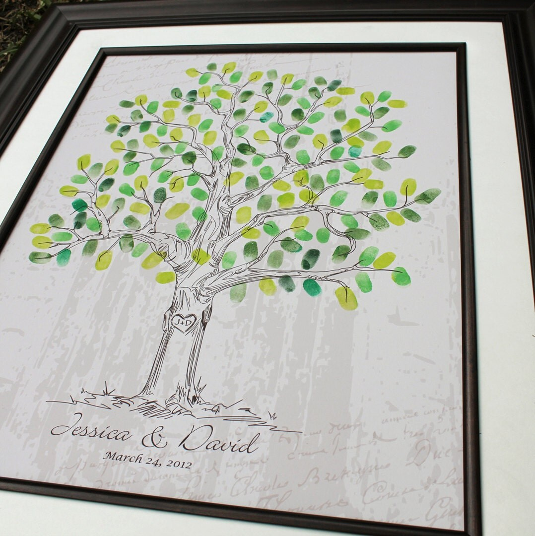 Wedding Tree Guest Book Custom Gift Unique Alternative Print Poster Personalized Guestbook Thumbprint Art