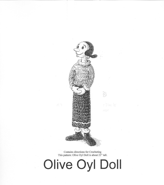Crochet Pattern Popeye Doll : Vintage Olive Oyl Doll Crochet Pattern PDF Instant by ...