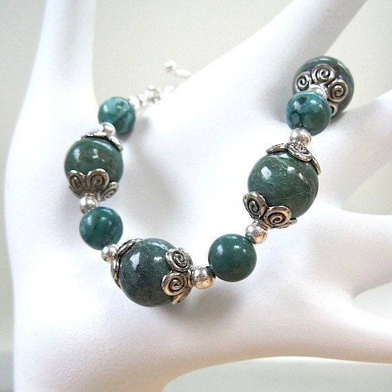 teal green gemstone bracelet turquoise by roughmagiccreations