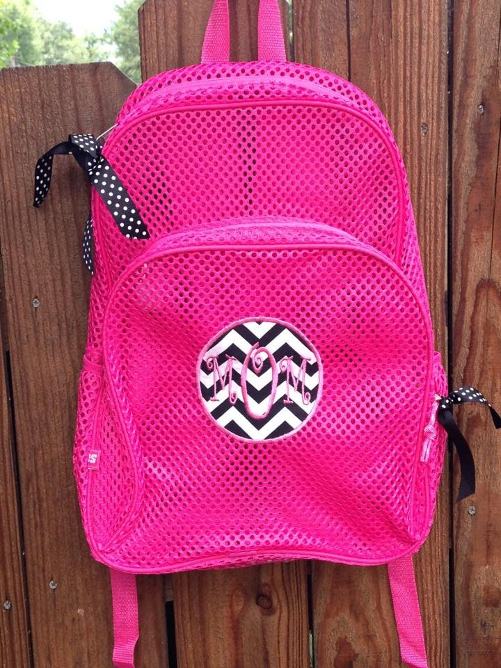 Hot Pink Mesh Backpack with Zebra Print Patch and Monogram