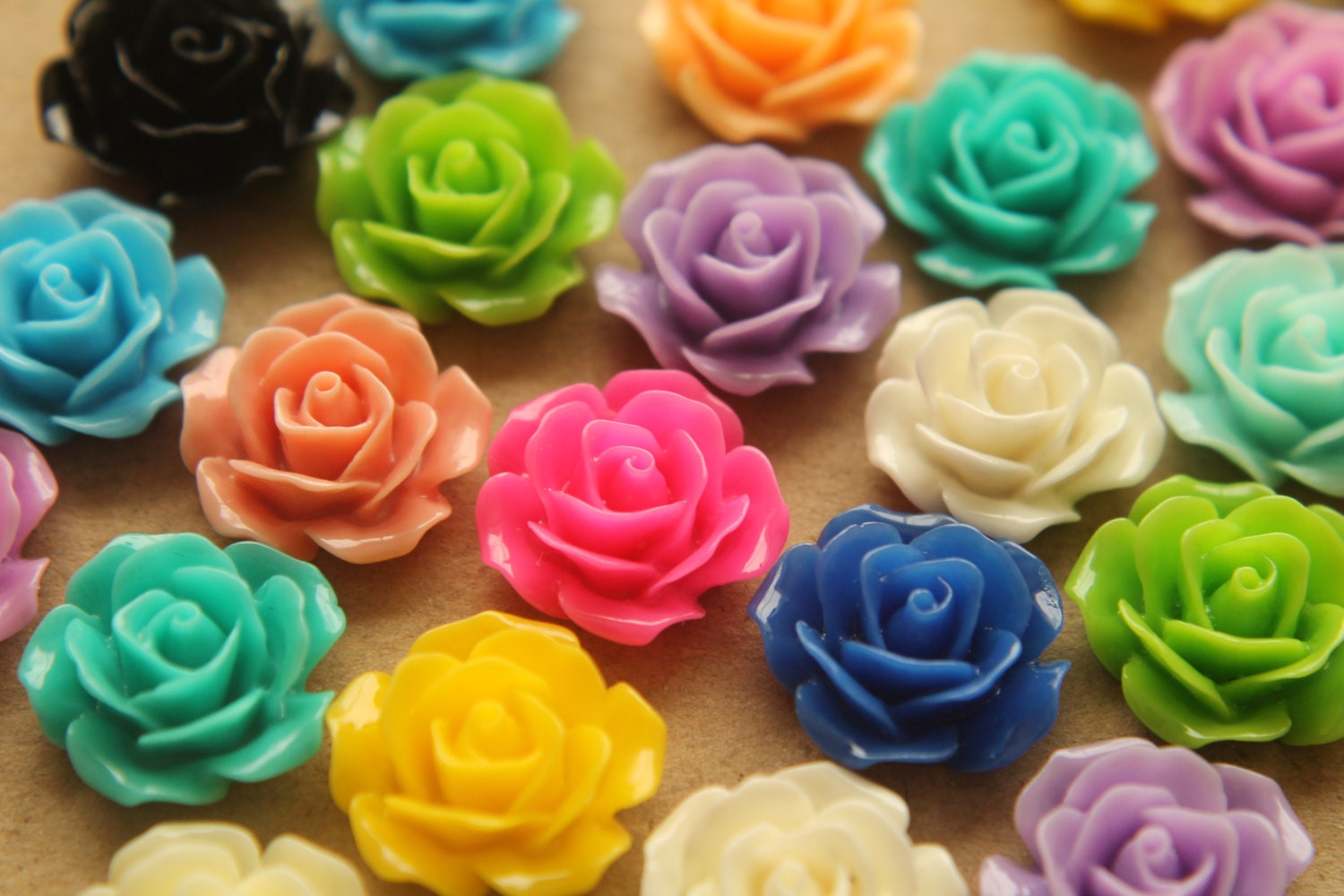 32 pc multi colored crisp petal rose cabochons by brasskicker for Multi colored rose petals