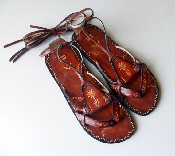 Lace Up Leather Sandals - Fantasy