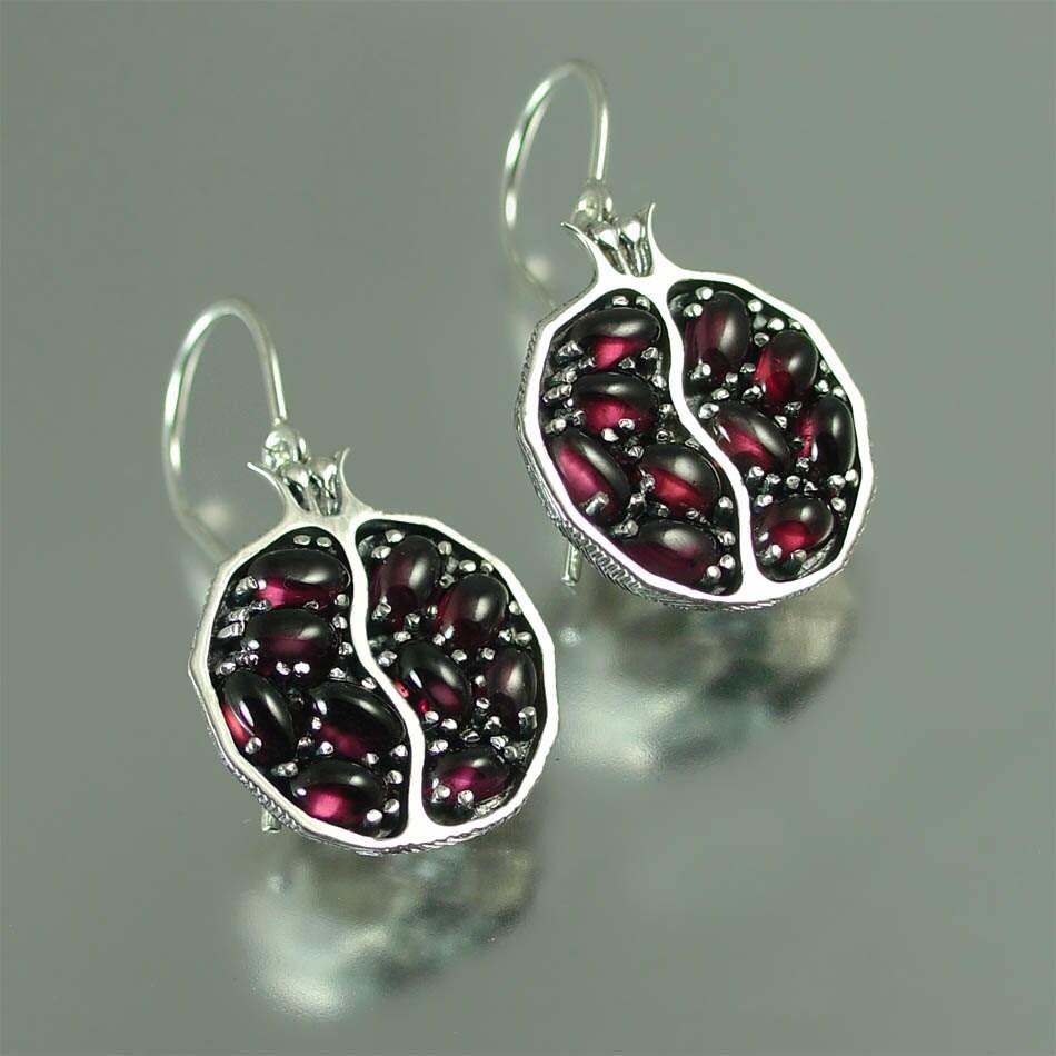 Pomegranate Garnet Silver Earrings By Wingedlion On Etsy