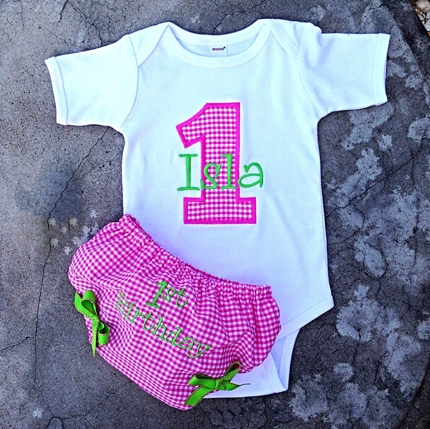 Monogrammed Baby Birthday Onesie And Diaper Cover By