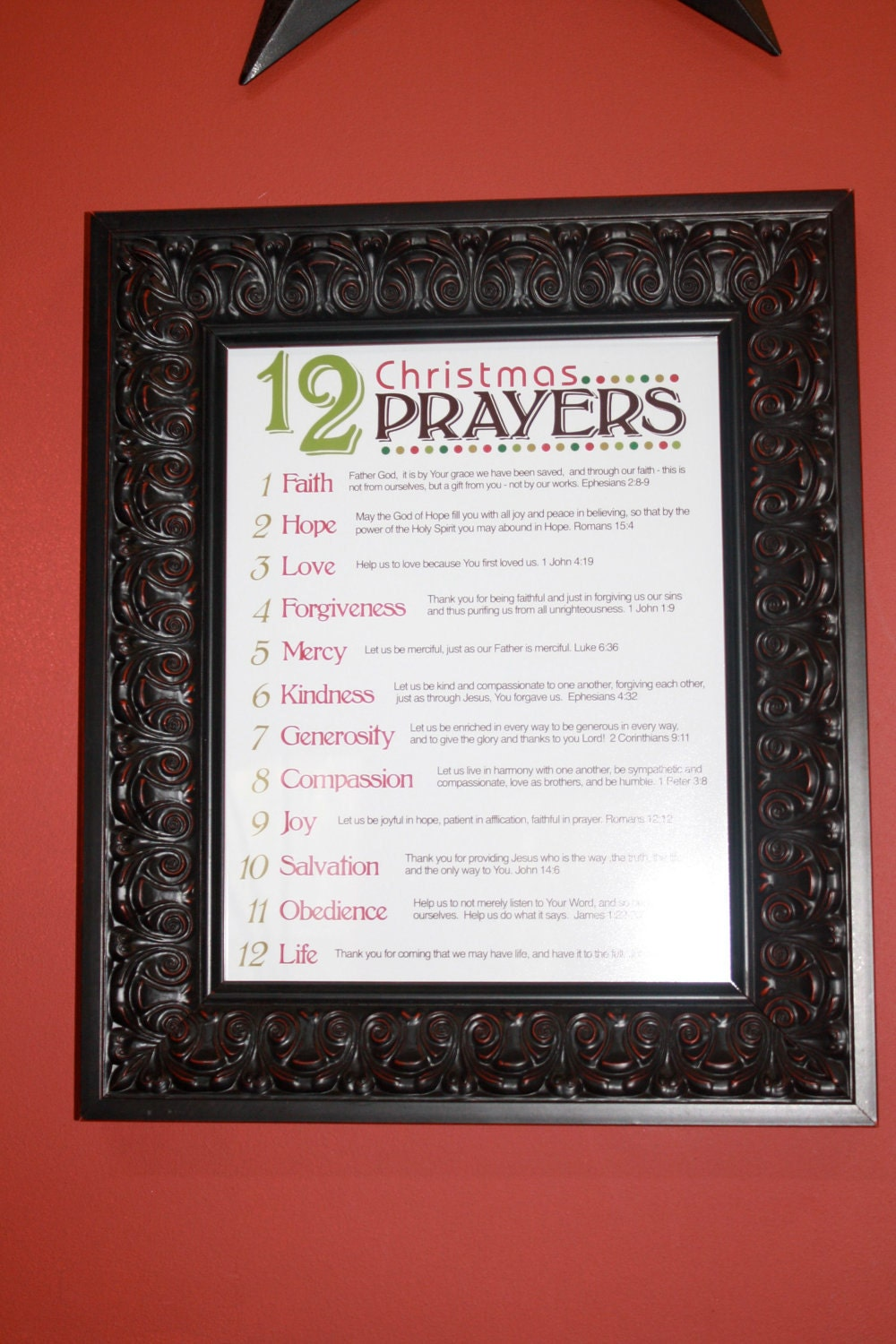 items similar to 12 prayers of christmas  11x14 print on etsy
