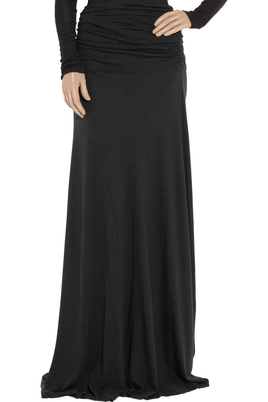 black shirred maxi skirt skirt jersey by