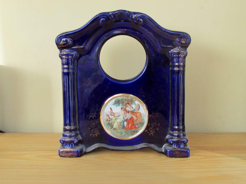 Art Deco Porcelain Mantle Clock Case Navy 1930s by Empire Porcelain Co Home Decor British Ceramics