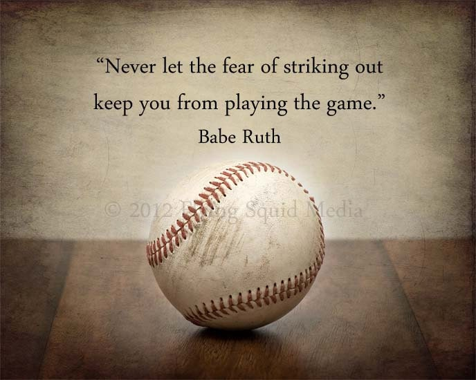 "Baseball Art: 10x8 Baseball Poster ""Never let the fear of striking out keep you from...""   Baseball Decor, Boy's Room Decor, Sports Decor"
