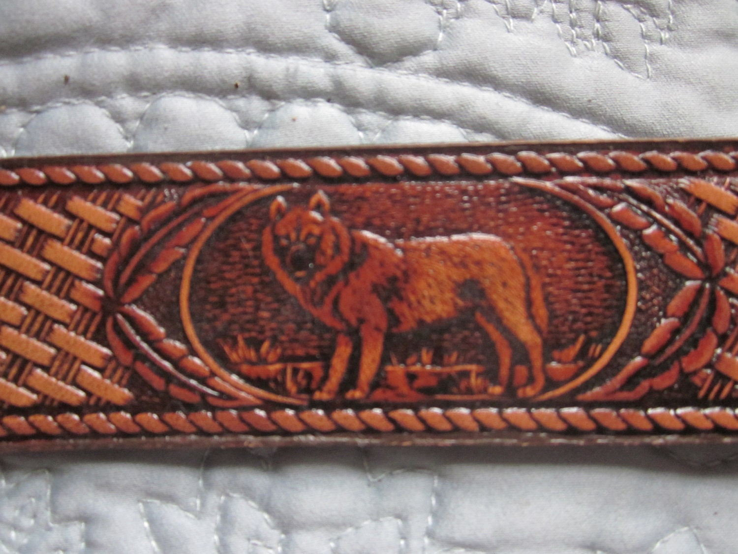 tooled leather belt wolves no bucklenever used western by