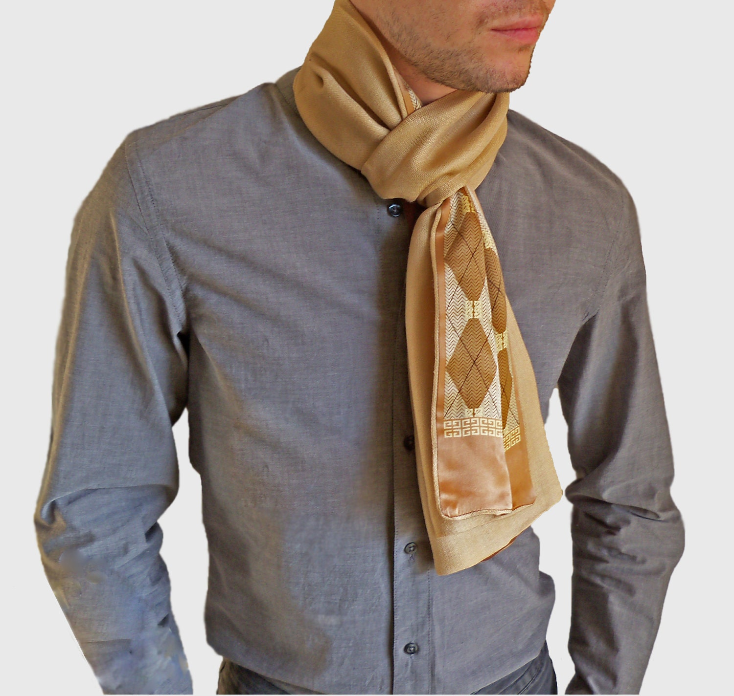 Autumn Scarves Mens Cashmere and silk scarf by CharLondon Cashmere Men's Scarves