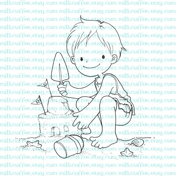 Digital Stamp Boy Plays with Sand Castle