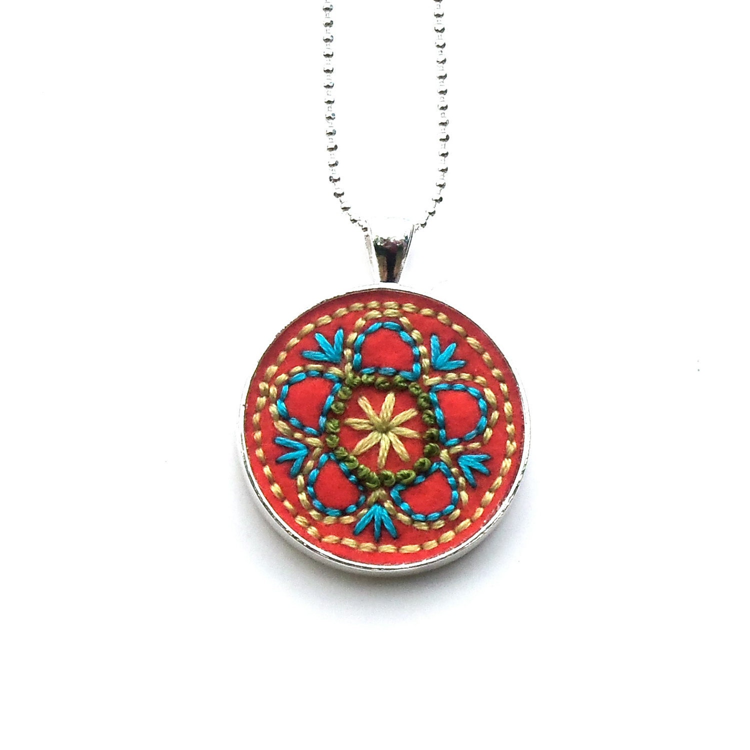 Flower vintage inspired hand embroidered pendant, Tangerine with Blue and Greens - atinyforest