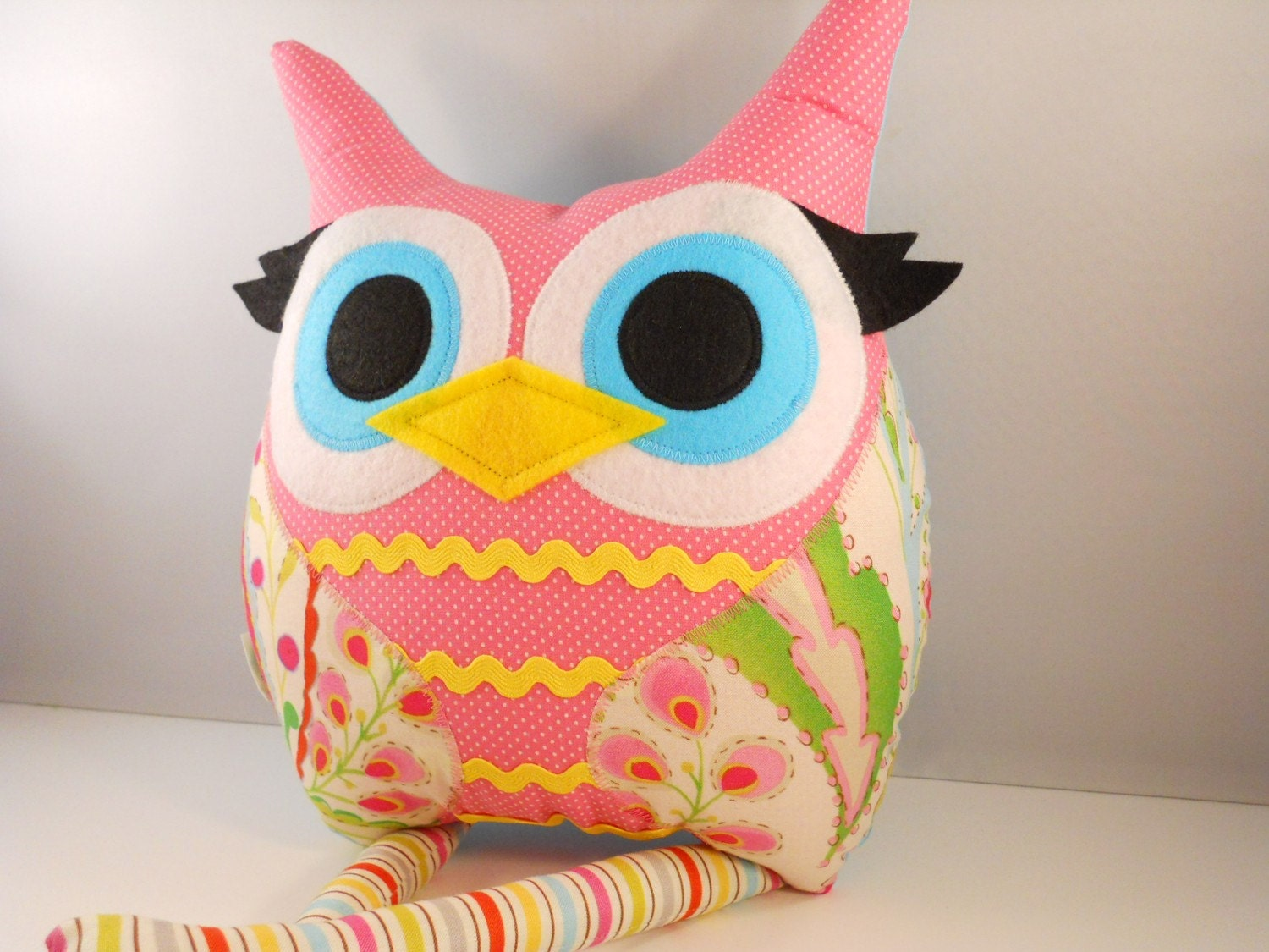 Handmade Owl Pillow Plush Stuffed Toy Christmas By Karensagez