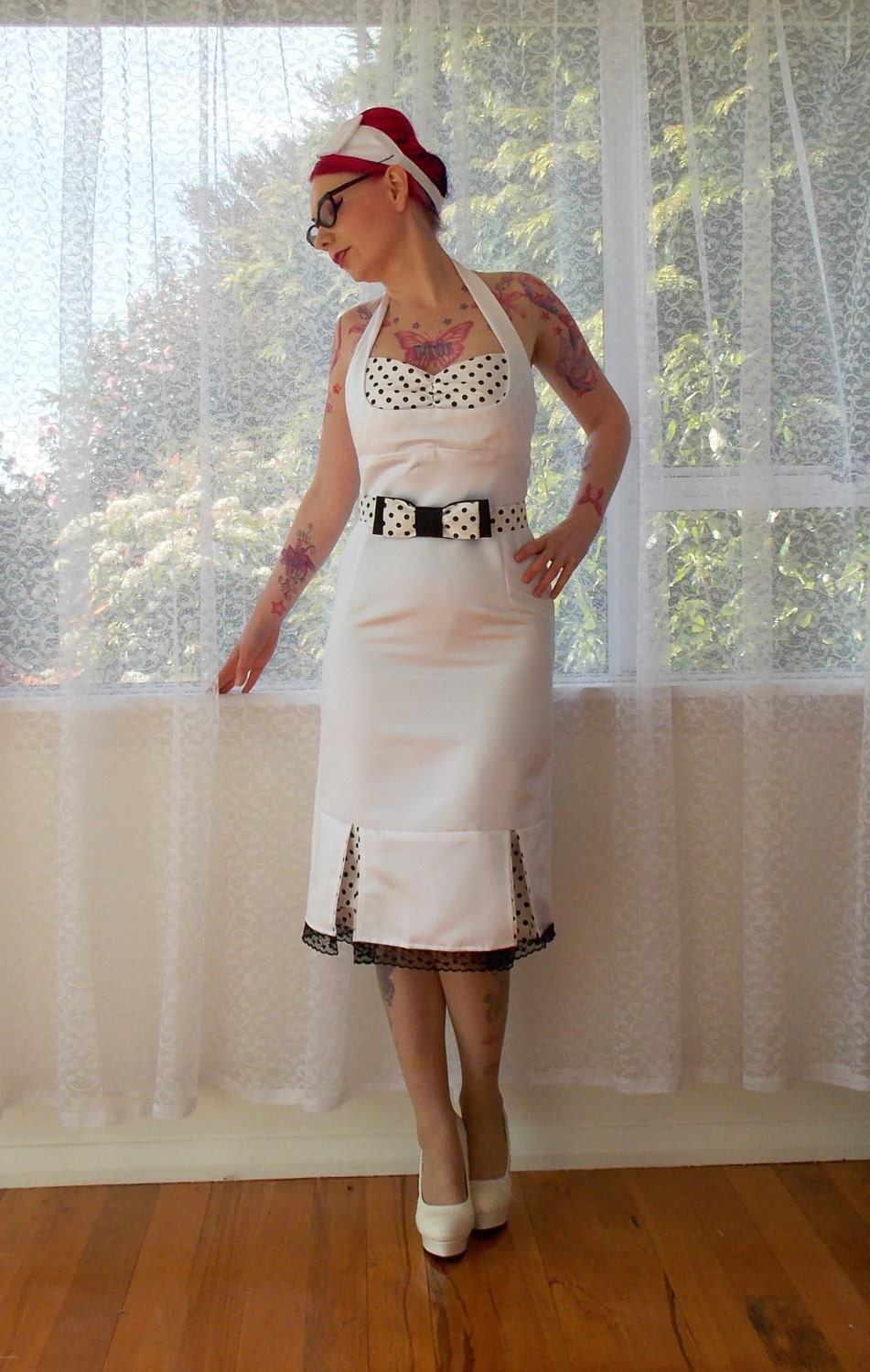 1950s Bridget Pin Up White Wiggle Halterneck By PixiePocket