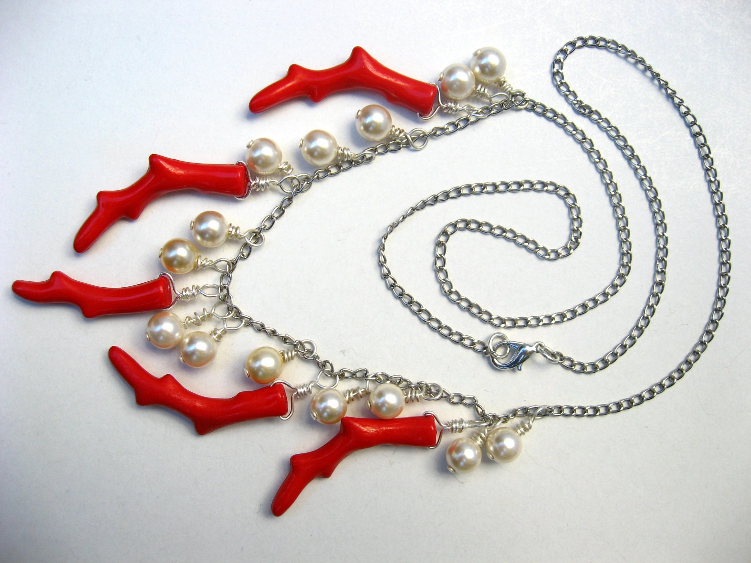Coral Branch Necklace w/ Pearl Charm, Chain Bead Necklace, Wire Wrap, Playful Necklace