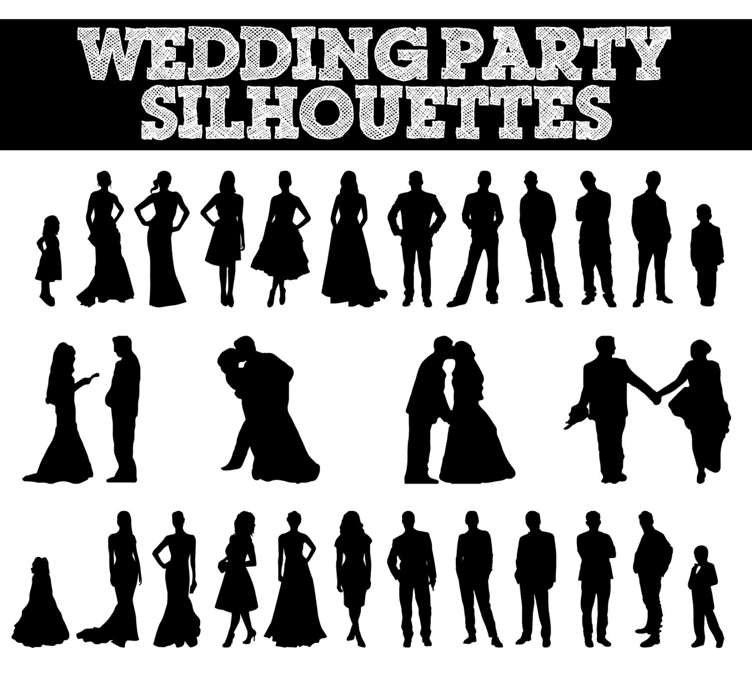 wedding party silhouettes      wedding bride by sparkyourcreativity