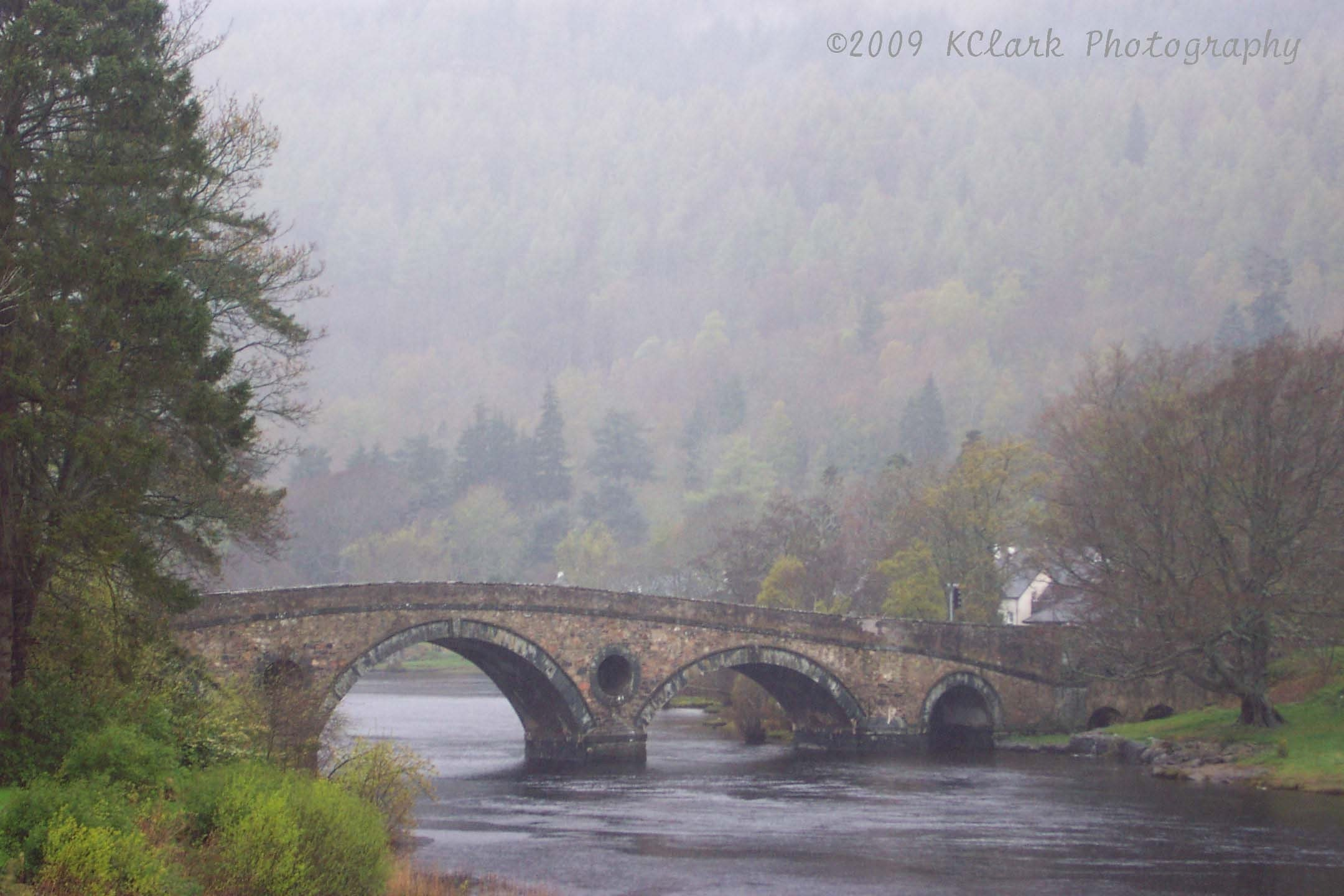 The Bridge  Scotland 8x10 Photograph 11x14 mat landscape misty dreamy travel river home decor outlander - KClarkPhotography