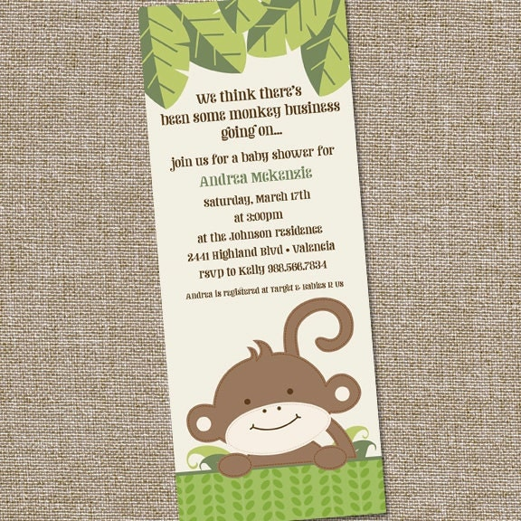 monkey theme baby shower invitation by partymonkey on etsy