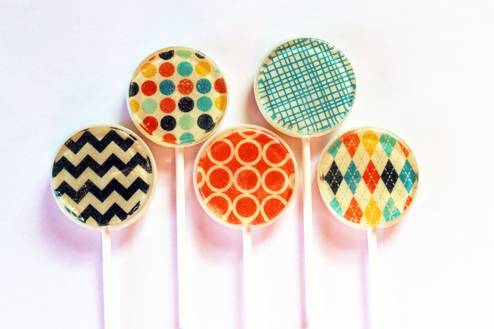 "Retro fashion edible images hard candy lollipops -  2"" lollipops - 5 pc. - MADE TO ORDER - VintageConfections"