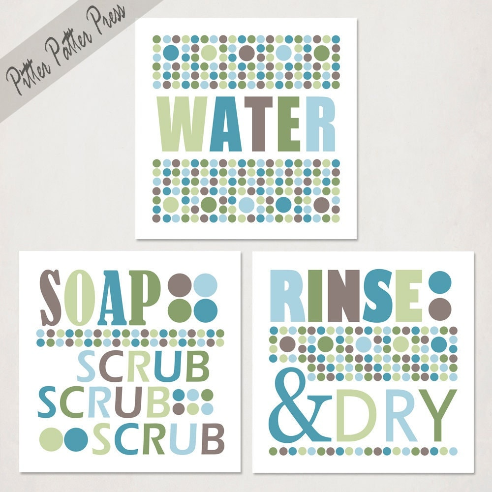 Bathroom Art Prints // Kids Set of Three // by pitterpatterpress