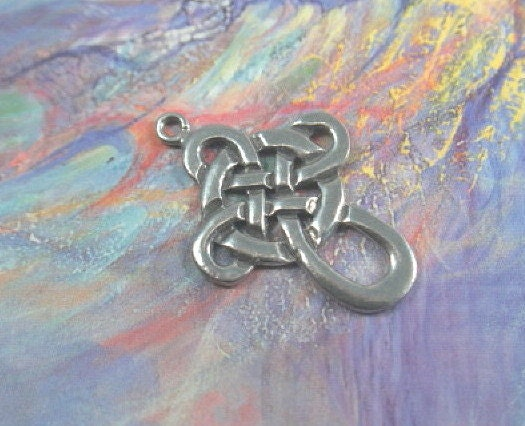 Pewter Celtic Knot Cross Pendant charm connector finding