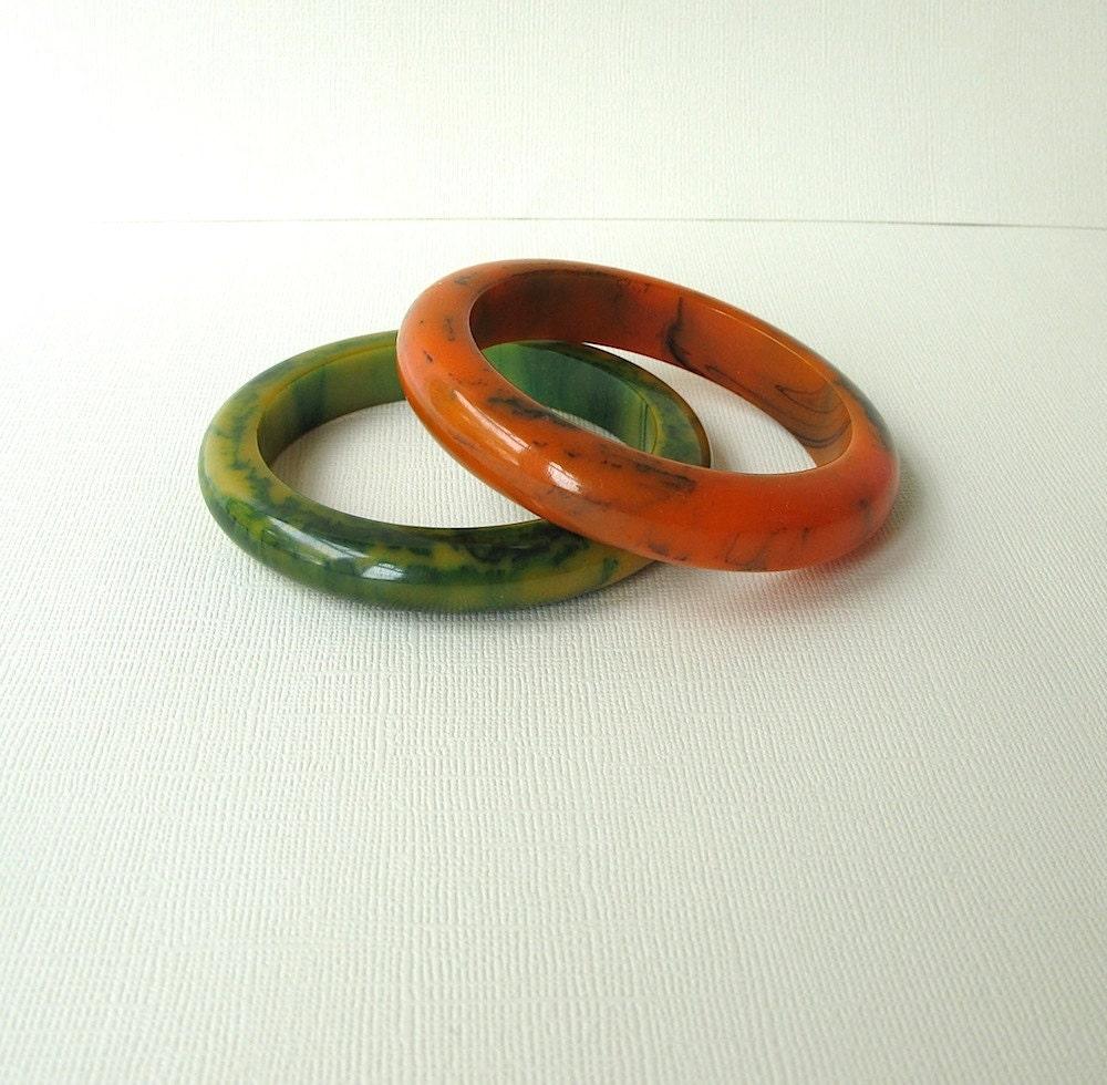 vintage bakelite bangle bracelet orange by passedby on etsy