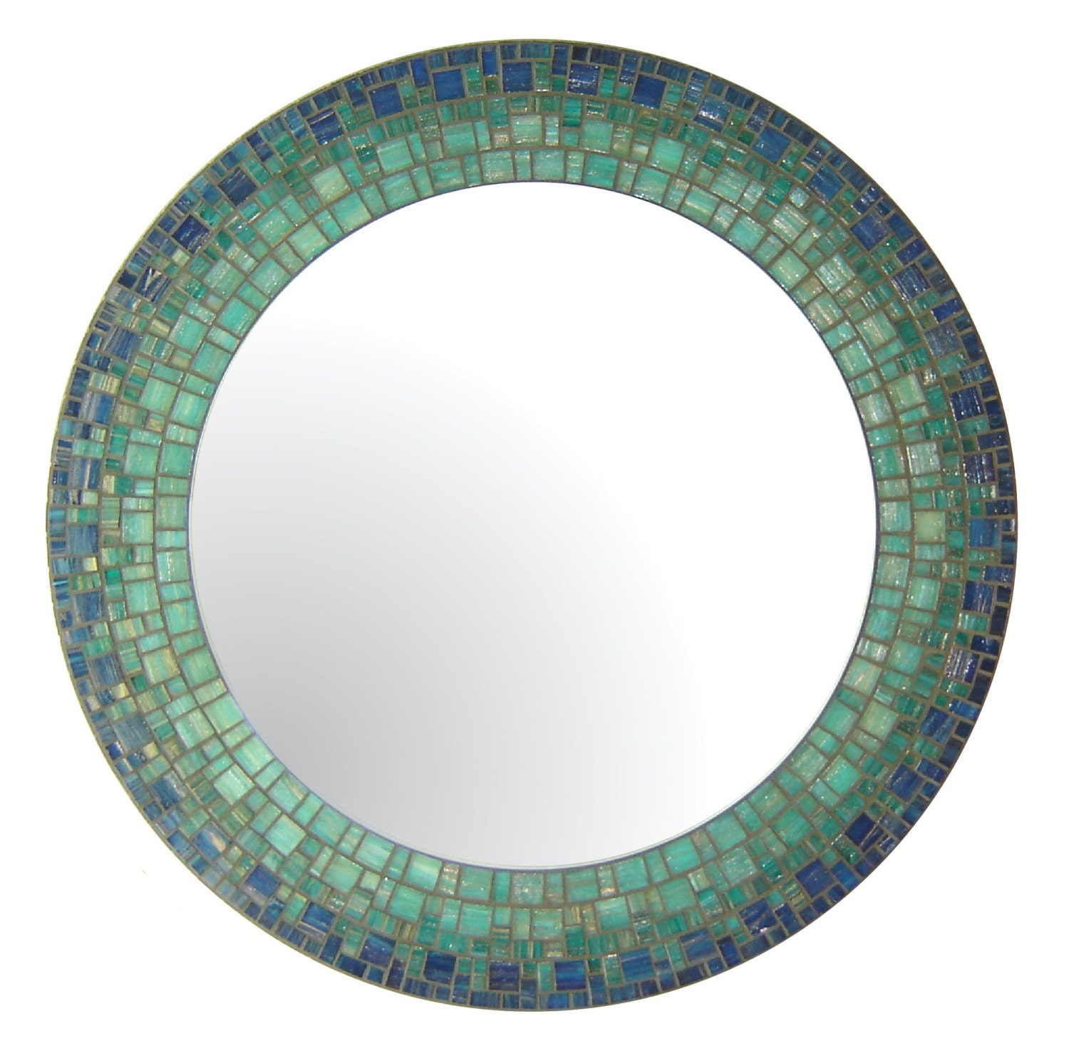 Blue teal round mirror glass mosaic by opusmosaics on etsy for Teal framed mirror