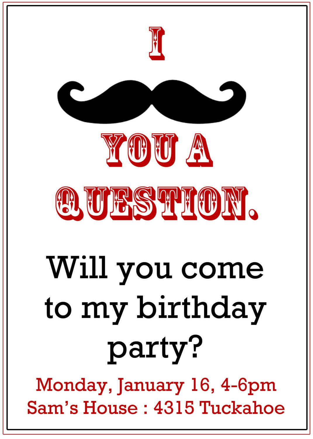 Moustache Party Invitations with best invitations layout