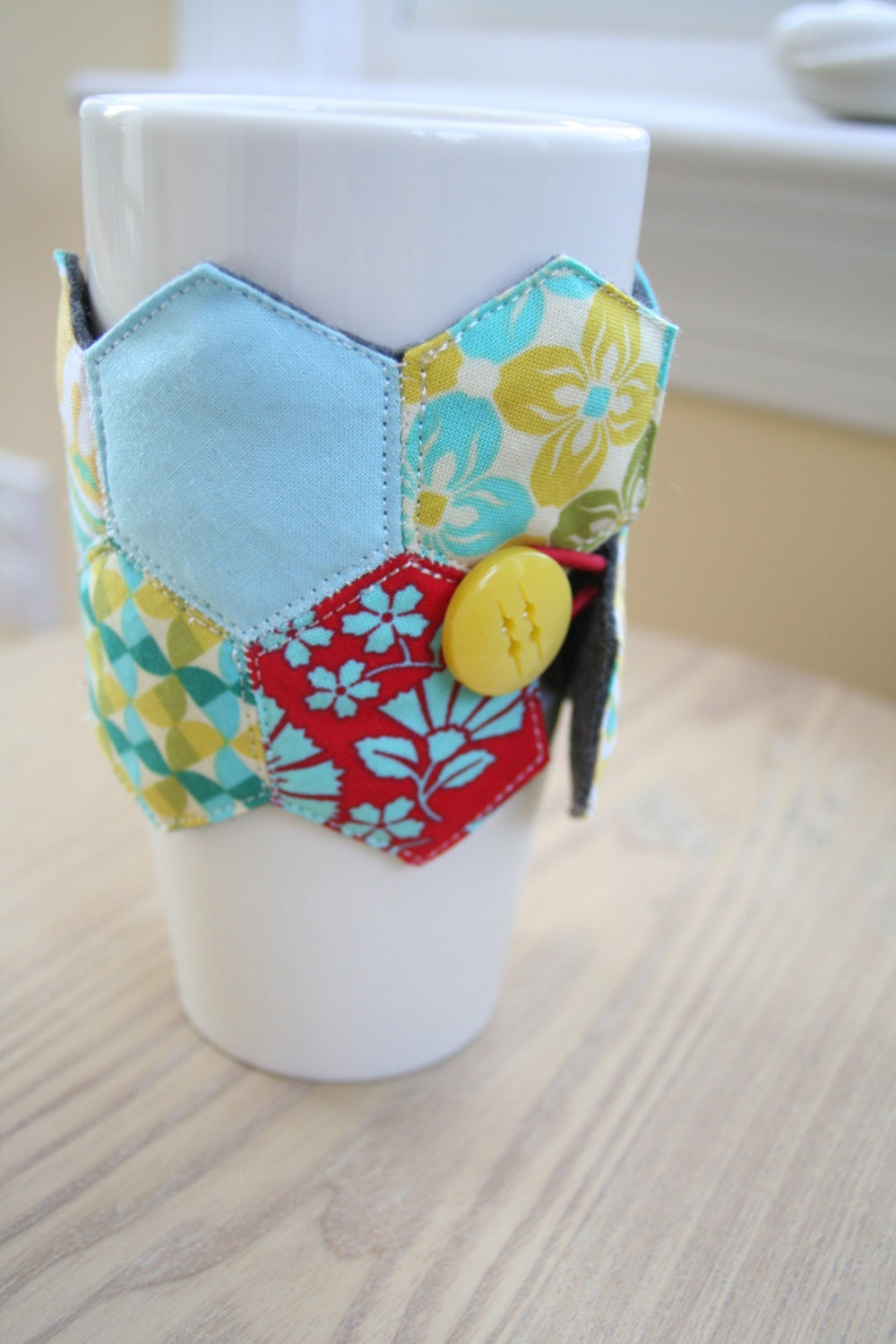Reusable coffee cup sleeve cozy patchwork and by squeekcrafts for Cup cozy pillow