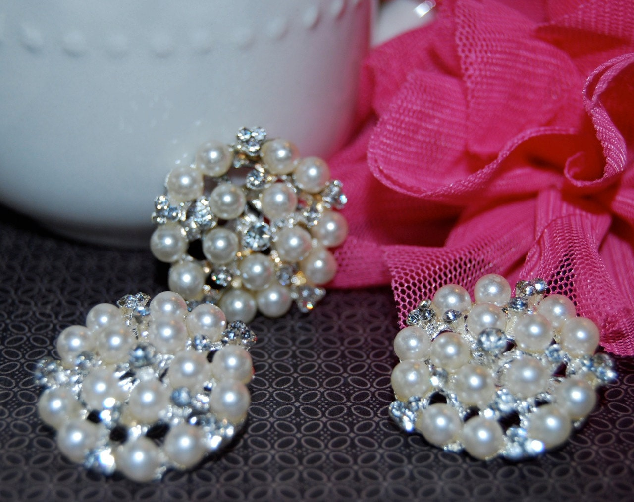 "3 pcs - Crystal Pearl brooch or flat back  - 1"" silver rhinestone pearl  - bridal wedding accessories vintage inspired Annabel SP50"