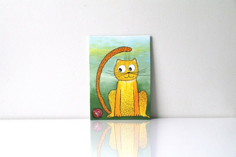 Yellow cat painting Funny greeting card with animal and ball Cute kitty art Green Girft for children Nursery decor Small painting 6x9 size - AstaArtwork