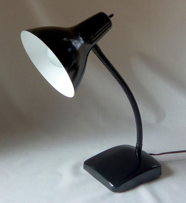 vintage metal gooseneck desk lamp black task light by beehavenhome. Black Bedroom Furniture Sets. Home Design Ideas