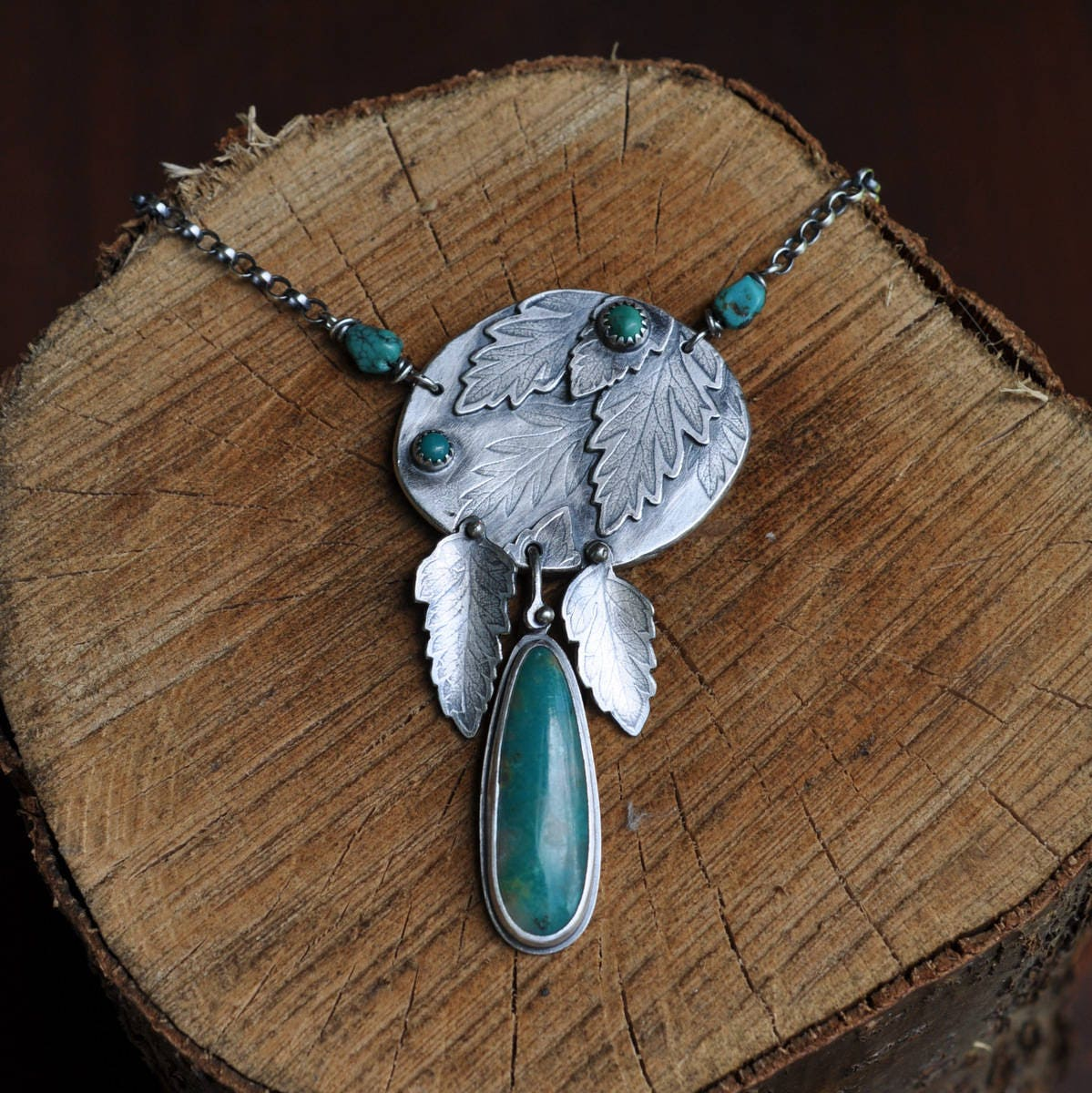 Sterling Silver Turquoise Necklace Oxidised Leaf Necklace Sterling Silver Gemstone Charm Necklace