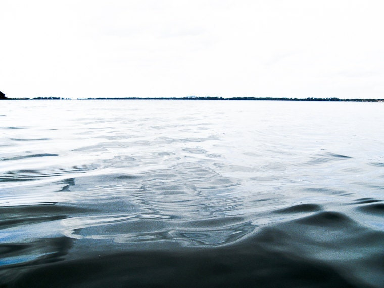 Minimalist water Photography ripples movement quiet Florida lake serene calm blue black sky - Distant horizon - fine art photo - brandMOJOimages