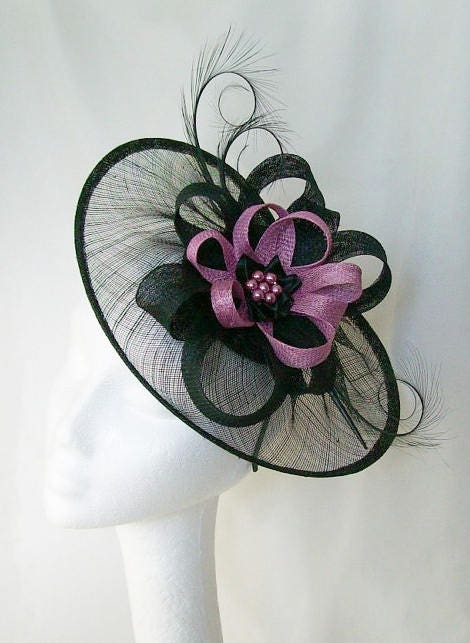 Black Sinamay Saucer Curl Feather and Radiant Orchid Loop  Beaded Cecily Fascinator Hat  Custom Made to Order