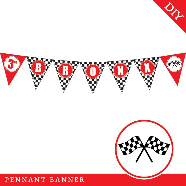 Race Car Party - Personalized DIY printable pennant banner by ...