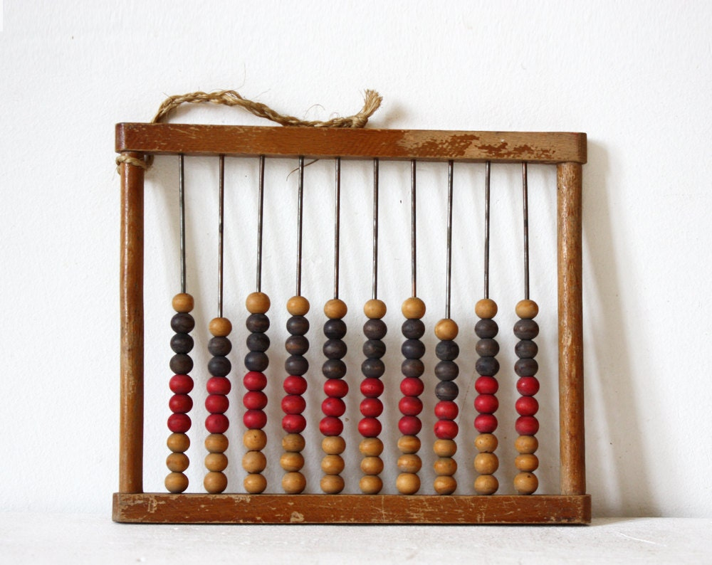 Lovely Vintage  little French wooden ABACUS - RueDesLouves