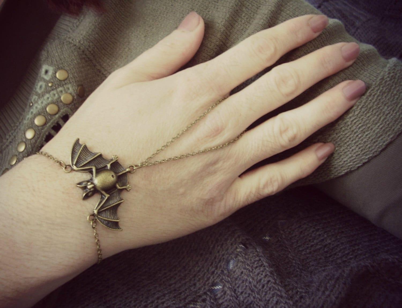 bat ring bracelet bat jewelry brass flower by myartgame