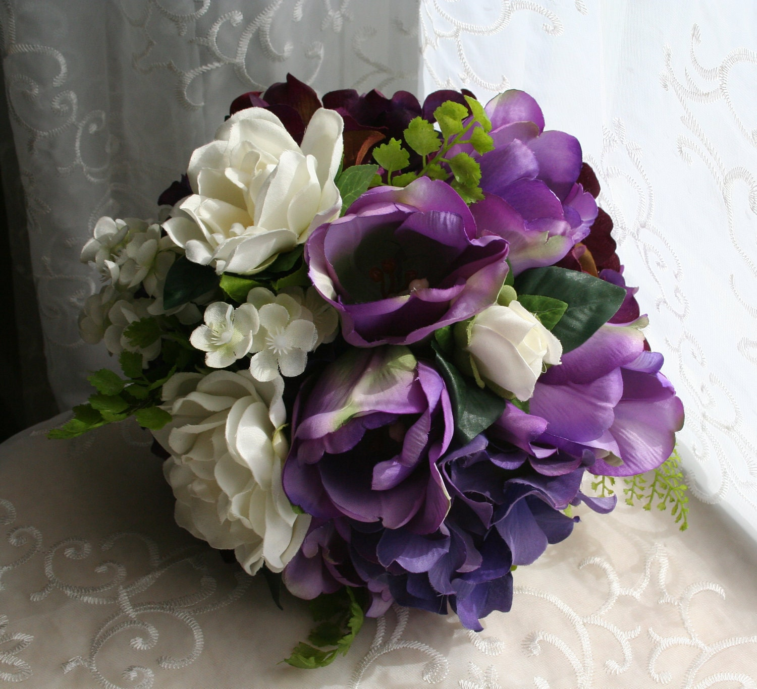 Purple Tulip Bouquet  Hydrangea and White Gardenias with Groom s    Purple And White Tulip Bouquet
